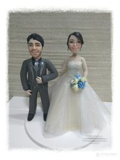 Cake topper sposi caricature in porcellana fredda