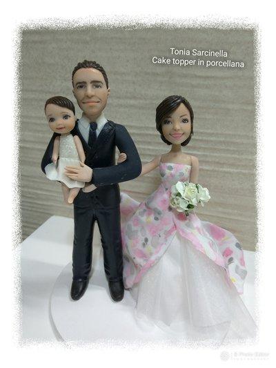 Cake topper caricatura sposi in porcellana fredda