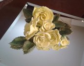 Rose e foglie  in pasta di zucchero