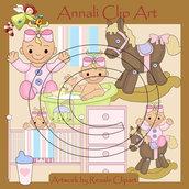 Clip Art perScrapbooking e Decoupage - Nursery Rosa - IMMAGINI