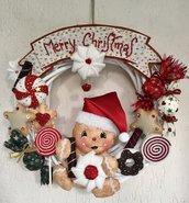 NATALE - ghirlanda ginger con tanti dolcetti e scritta merry Christmas