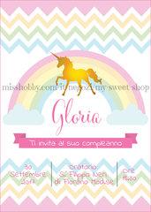 Invito digitale per compleanno con unicorno