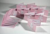 Set di 15 biglietti bigliettini bimba con codine per confetti bomboniere battesimo nascita