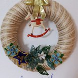 Ghirlanda fuoriporta con fiori di perline
