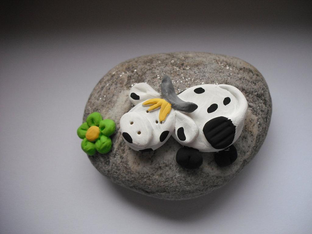Ferma carte - mucca con fiore