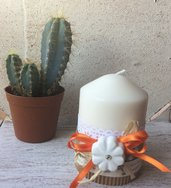 Candela decorata in stile shabby