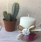 Candela decorata in stile shabby con gessetto profumato