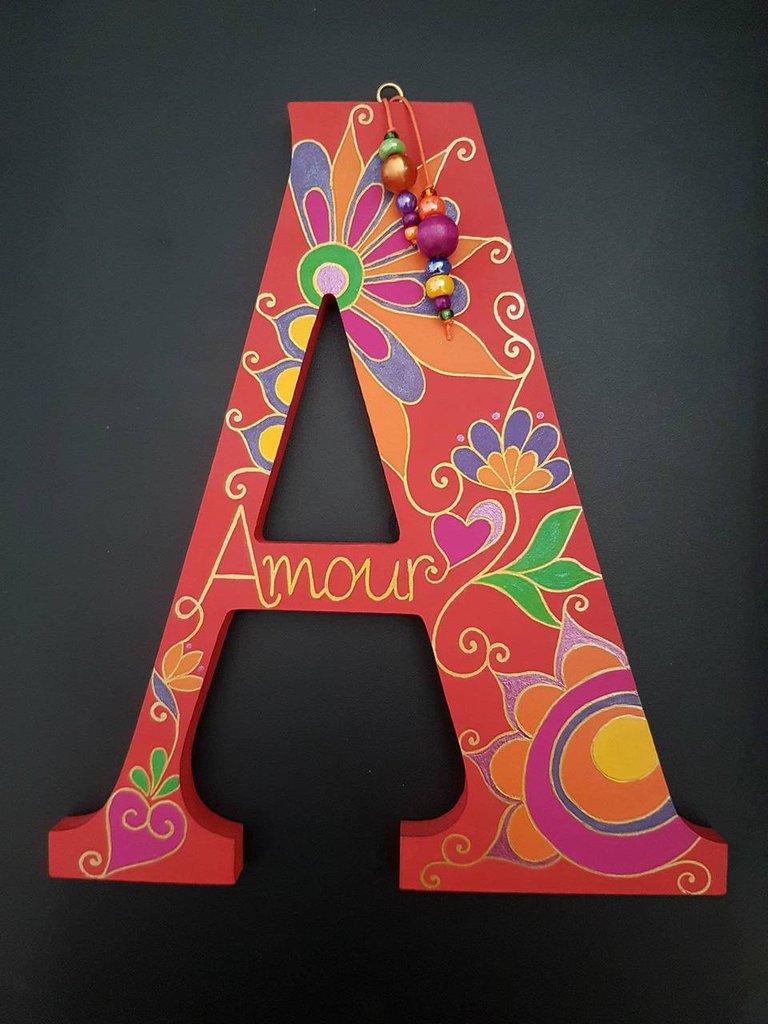 """Decorazioni Lettere D Amore lettera alfabeto decorata a mano - """"a"""" come amore"""