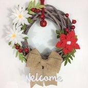 Ghirlanda fuoriporta Natalizia feste e regali di Natale stella iuta naturale