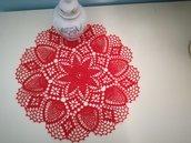 Centrini di Natale.Centrino rosso all'uncinetto.Idea regalo di Natale.
