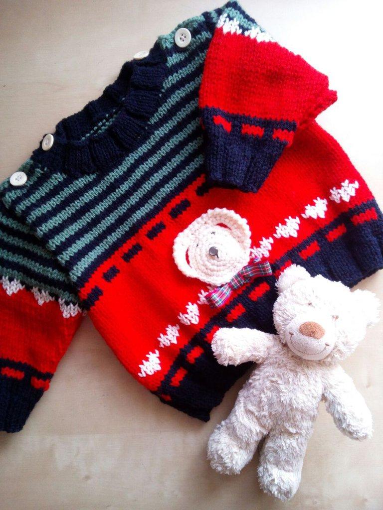 Plaid Fatto Ai Ferri maglione ai ferri fatto a mano per neonato rosso blu verde - maglioncino  golf bambino