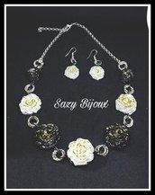 Parure GRAN ROSE: Collana e Orecchini con Rose glitterate e lavorazione diamantata