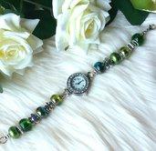 Orologio con perle a foro largo - Verde