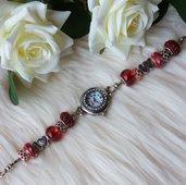 Orologio con perle a foro largo - Rosso