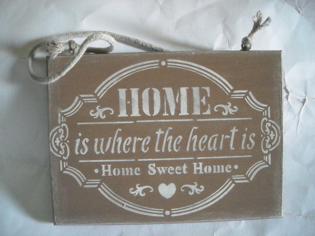 Decorazioni In Legno Per La Casa : Targa fuoriporta in legno decorazione casa dolce casa per la cas