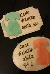 targa in legno cane