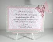 Targhetta con farfalla versione rosa - regalo bomboniera madrina padrino Battesimo
