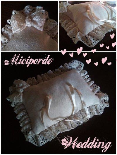 Cuscino portafedi Wedding cucito a mano