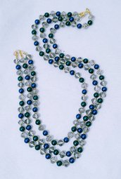 """Collana corta multifilo in perle e cristallo """"Criveblu"""""""