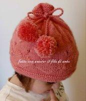 Cappello bambina rosa con cuori e pom pom