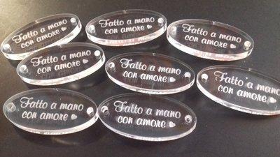 Lotto etichette Fatto a mano con amore in plexiglass trasparente