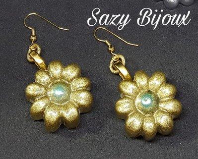 Orecchini MARGY Oro glitter con Perla centrale