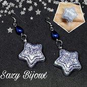 Orecchini STAR -  Argento glitter con gocce in vetro smaltato