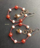 Orecchini cerchio corniola rossa perle d'acqua freshwater rosa