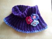 sciarpa ad anello bambina scalda collo lana fatto a mano a uncinetto con fiori  - regalo Natale personalizzabile