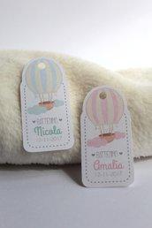 tags etichette bigliettini bomboniere sagomati grafica particolare ideata da epouse moi mongolfiera hotairballons