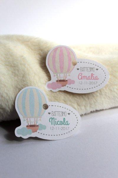 tags etichette bigliettini bomboniere sagomati grafica particolare ideata da epouse moi mongolfiera hotairballons ovale