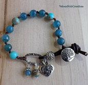Bracciale bottone albero della vita e pietre dure azzurre