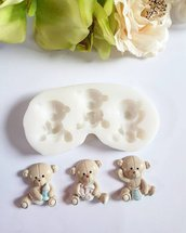 Stampo in gomma siliconica orsetti baby