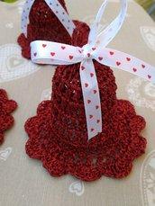 Campanelle Natale rosse addobbi decorazioni tavola casa