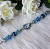 Orologio con perle a foro largo - Azzurro/Blu