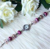 Orologio con perle a foro largo - Rosa/Fucsia