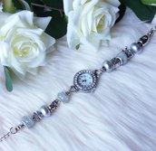 Orologio con perle a foro largo - Argento
