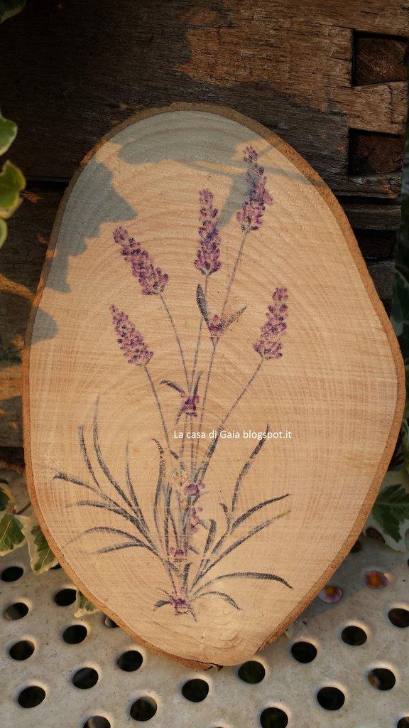 Tagliere per dolcetti,formaggi o sottopentola,in legno naturale,con stampa Lavanda vintage realizzata a mano