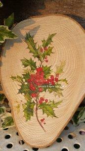 Sottopentola o tagliere per formaggi o dolcetti, in legno naturale,decorato con stampa vintage agrifoglio