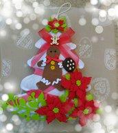 Fuoriporta albero di Natale in feltro bianco addobbo natalizio