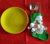 Portaposate Natale pannolenci verde Babbo Natale