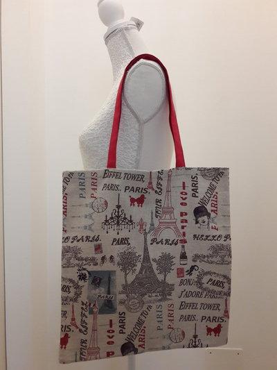 Shopper in tessuto fantasia Parigi