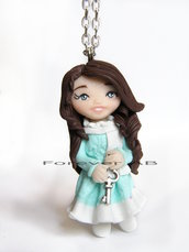 Collana bambolina inverno doll fimo necklace idea regalo clay