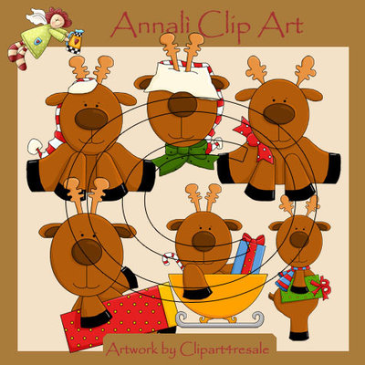Clip Art per Scrapbooking e Decoupage - Renne Natale - IMMAGINI