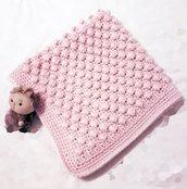 copertina per carrozzina e culla in lana fatta a mano a uncinetto