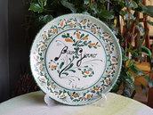 Piatto decorativo in ceramica siciliana. Piatto da appendere. Le ceramiche di Ketty Messina.