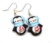 Orecchini a pinguino con dolce inverno idea regalo natale fimo Kawaii