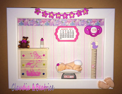 Quadretto nascita per bimba con elementi in fimo fatti a mano da esporre in cameretta o regalare