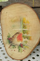 Tagliere o sottopentola in legno,decorato con stampa natalizia pettirosso vintage