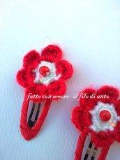 Fermacapelli / fermagli / mollette  bambina rosso con fiore
